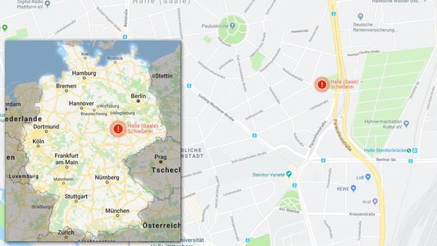 Der Tatort: Die Schüsse fielen offenbar in der Nähe der Synagoge und des Jüdischen Friedhofs in der Humboldtstraße in Halle (Saale). Google Maps hat den Ort der Schießerei mit einem roten Warnhinweis markiert. Zur interaktiven Karte gelangen Sie hier