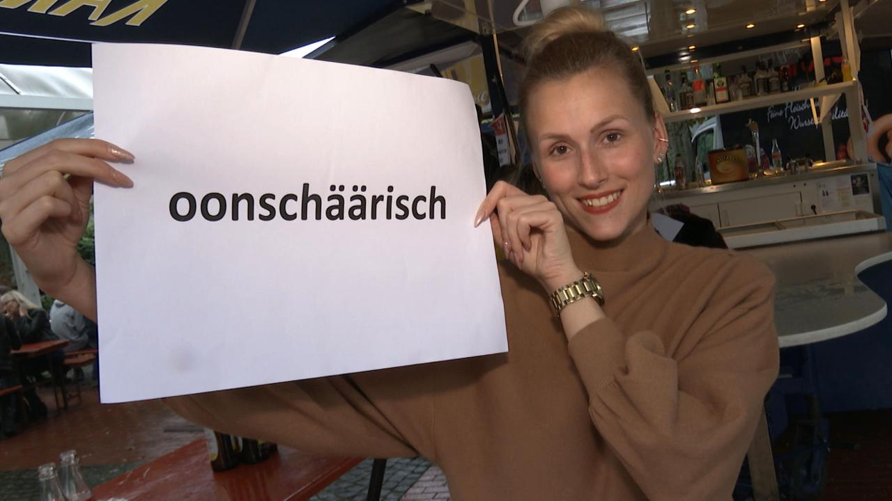 """Kathrin Spieß (28) aus Saarbrücken muss rätseln, was """"oonschäärisch"""" bedeutet: """"Dass etwas komisch ist?"""" Leider falsch, aber die Richtung stimmt. Ist damit doch meist """"ungezogen"""" oder """"ungepflegt"""" gem"""