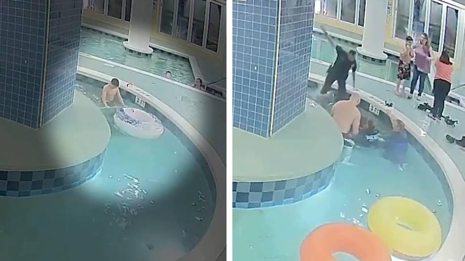 Horror im Schwimmbad: Abflussrohr saugt Kind unter Wasser - Retter kämpfen neun Minuten um sein Leben