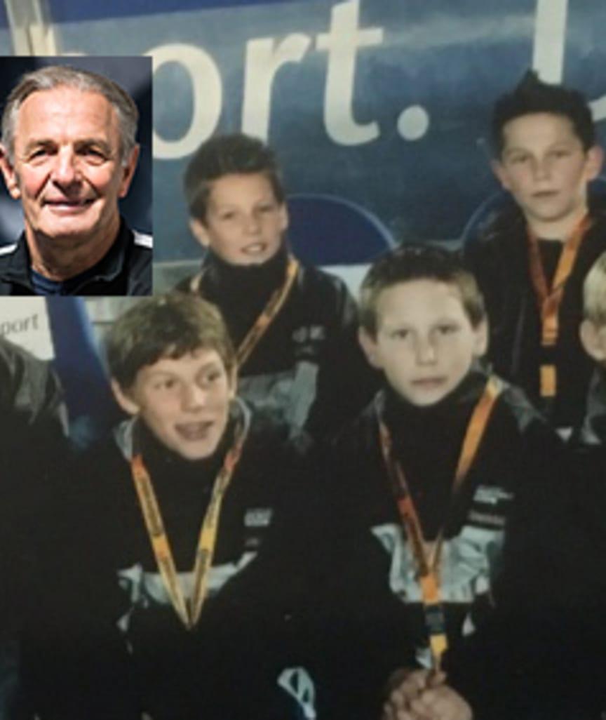 Der kleine Niklas Süle (2. v. r.) in der Fußball-Schule bei Charly Körbel (kl. Foto)