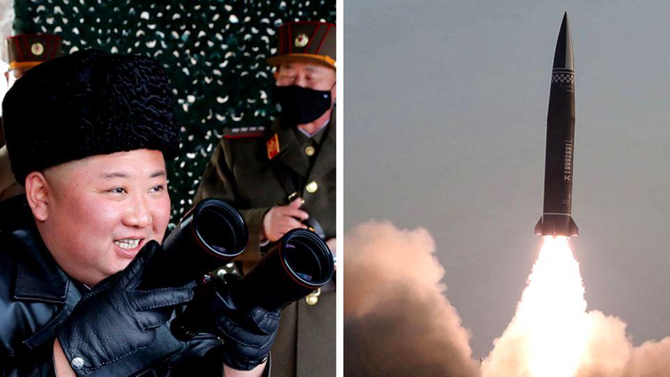 Nordkoreas Machthaber Kim Jong Un (Archivbild) und die neue Rakete
