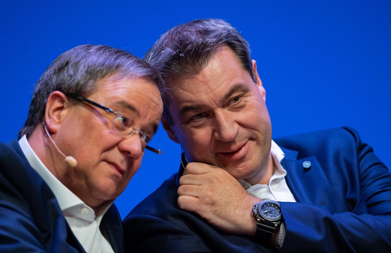 Der CDU-VorsitzendeArmin Laschet und CSU-Chef Markus Söder (Archivbild)